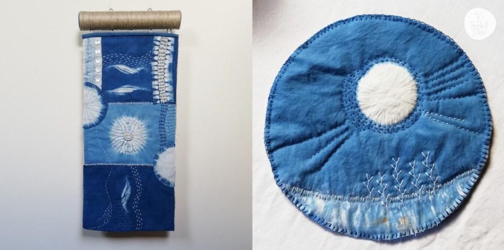 indigo dyed fabrics with shibori and embroidery patterns