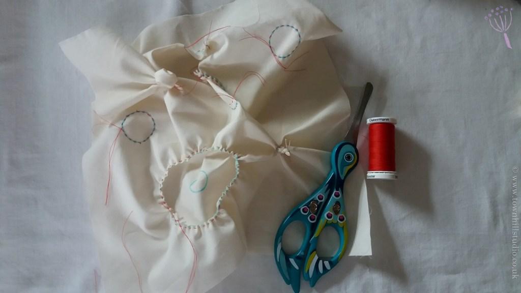 shibori circles stitching