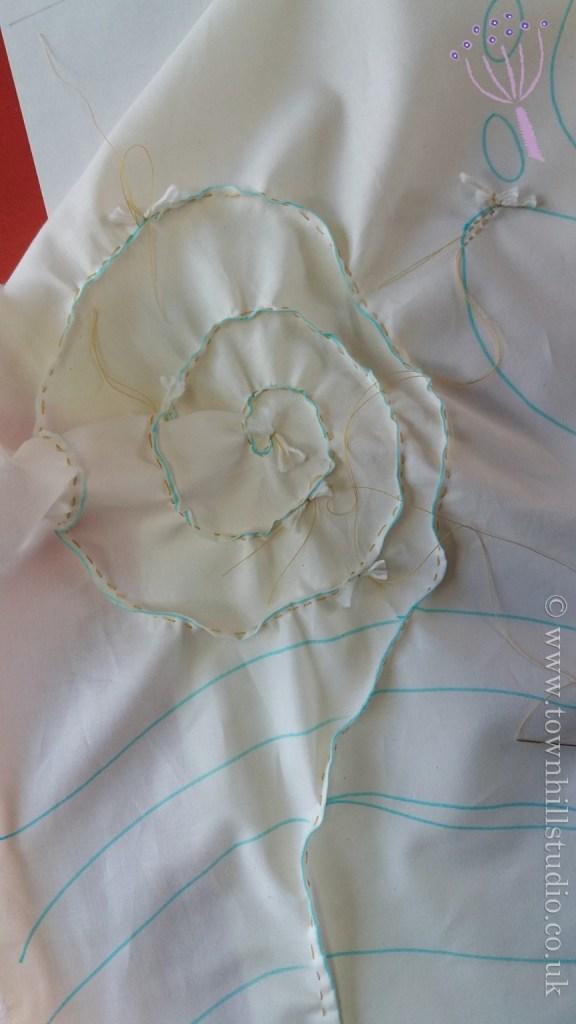 shibori fern stitching