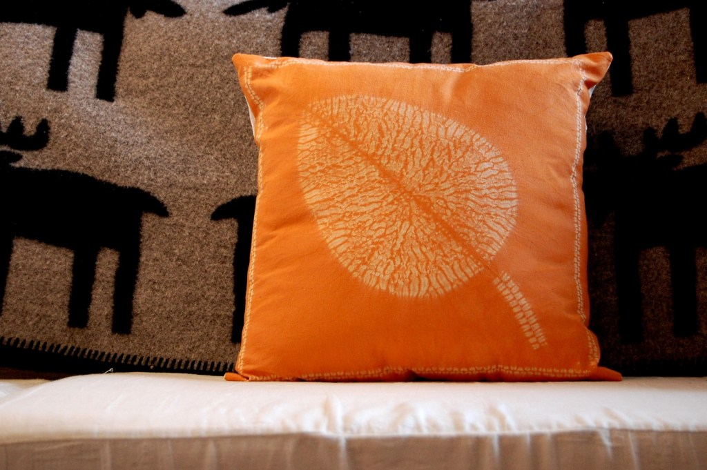 shibori leaf cushion