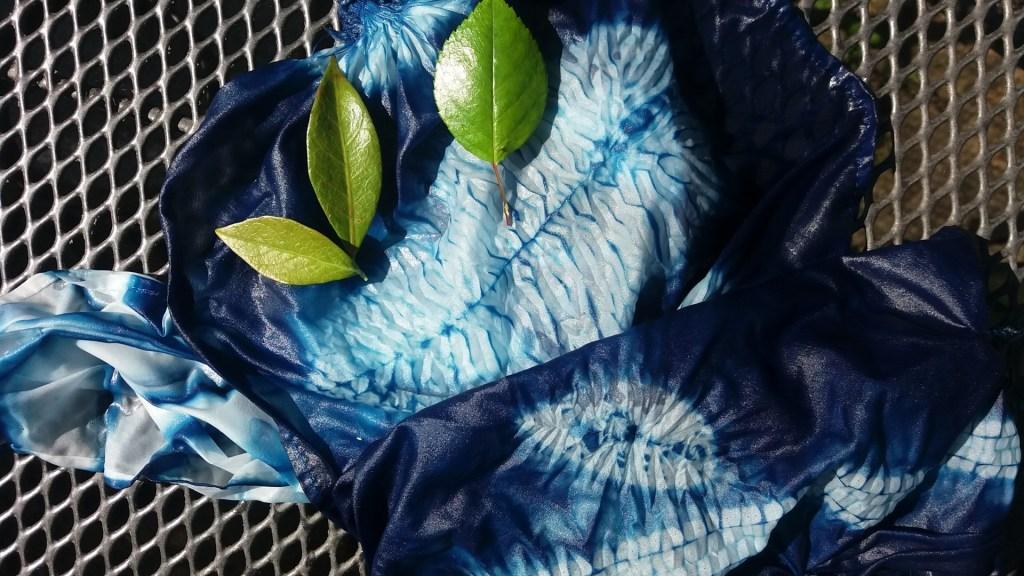 shibori leaf designs dyed with indigo