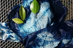 How to create an indigo forest of shibori stitch resist leaves