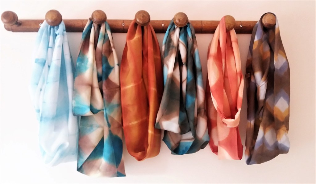 shibori silk scarf collection