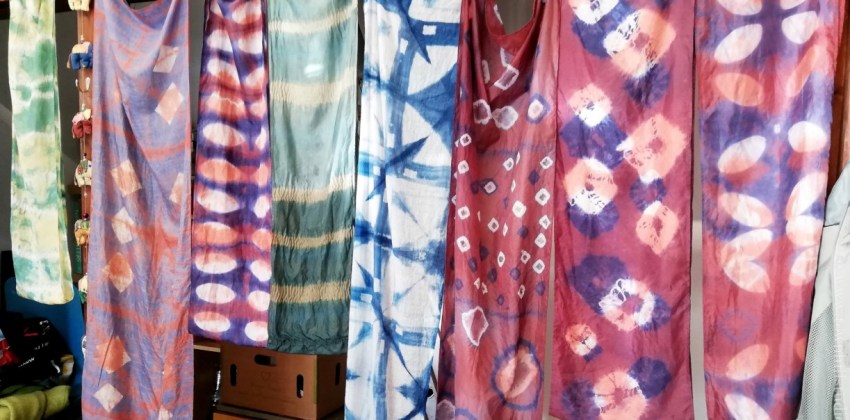 Shibori silk scarf workshop