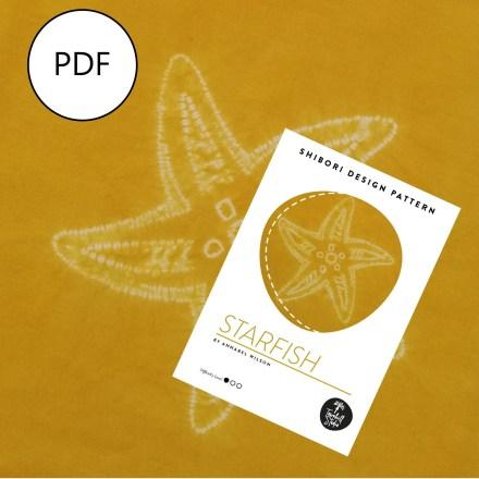 shibori starfish pattern showing the finished shibori design