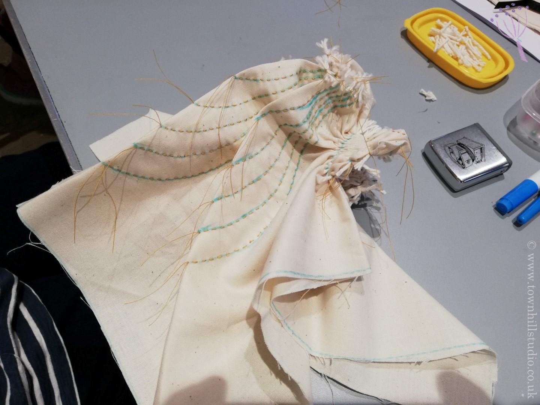 shibori stitch resist 8 petal flower stitching