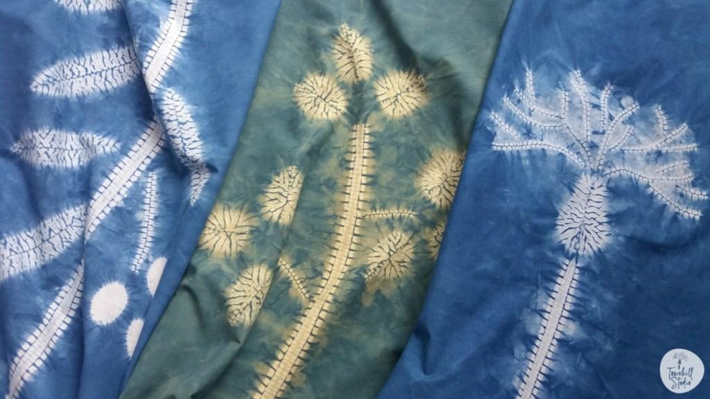 shibori stitch resist patterns