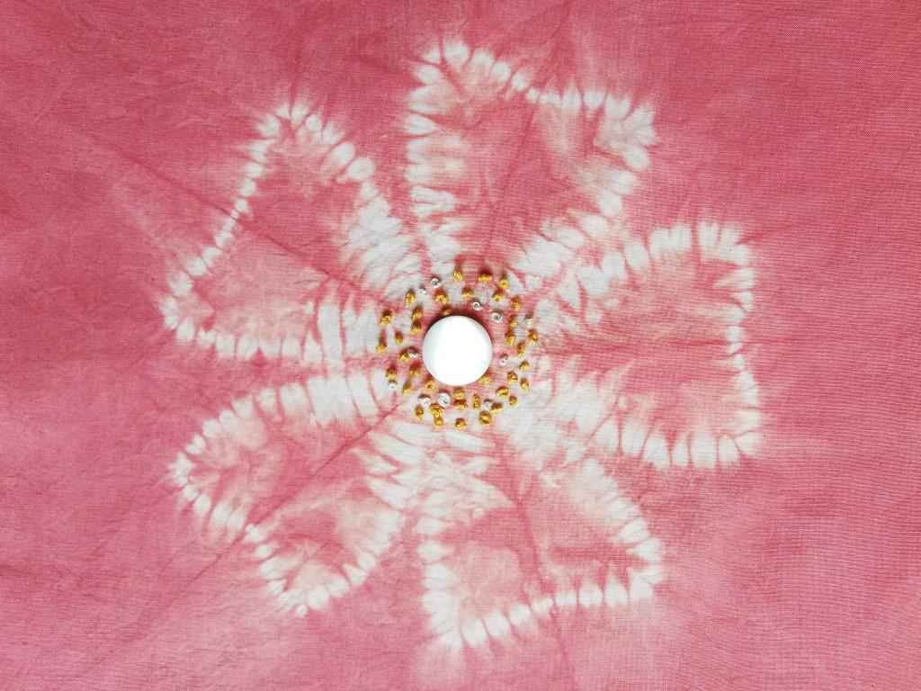 shibori wild rose design with embroidery