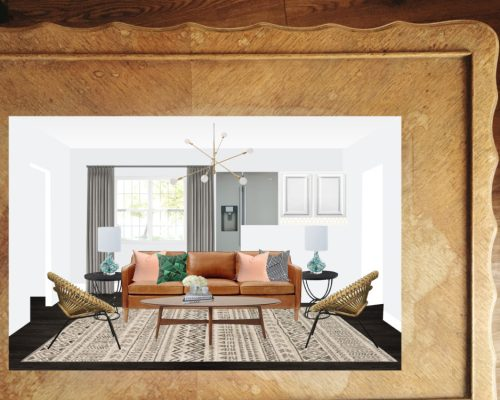 Get This Look: #projectmidcenturyfunk || Town Lifestyle + Design || Get the look of this Mid Century inspired E-design Living Room. A great eclectic mix of pattern and texture.