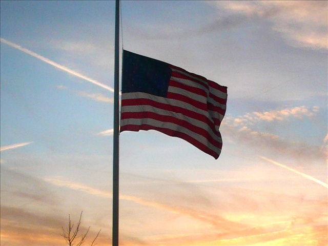 U.S. flag at half-staff, in Brighton, New York