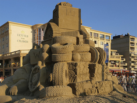 Tires Sand Sculpture