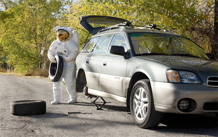 Astronaut Changes Tire