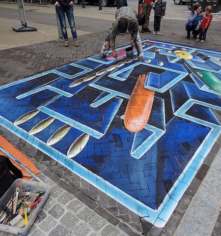 Pac-Man 3D Street Art