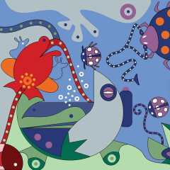 Art Wallet - Flower Frogs Close Up - Toyism Art Movement
