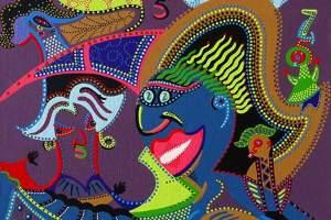 Schilderij - Kleurrijk Mens - Toyisme. Hedendaagse kunst online kopen.