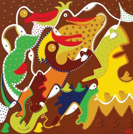 Painting - The Birdwatcher - Toyism. Buy art online.
