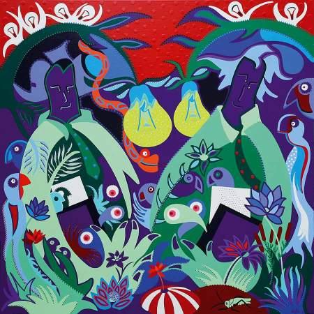 Schilderij - Hoeders Papieren Jungle - Toyisme. Hedendaagse kunst online kopen.