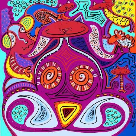 Kunstdruk - Kat Echt Tijger - Toyisme. Kunst te koop. Koop kleurrijke kunstdruk online.