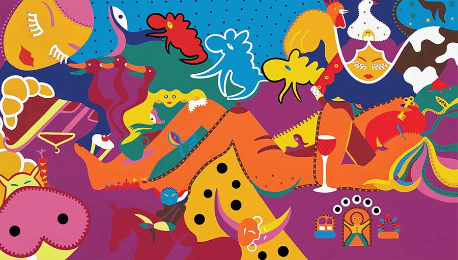 Zeefdruk - Grafiek - Dromen Ontbijt Zeefdruk - Toyisme. Kunst te koop. Koop kleurrijke kunstdruk online.