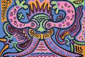 Zeefdruk - Grafiek - Brandende Haarballen Zeefdruk - Toyisme. Kunst te koop. Koop kleurrijke kunstdruk online.