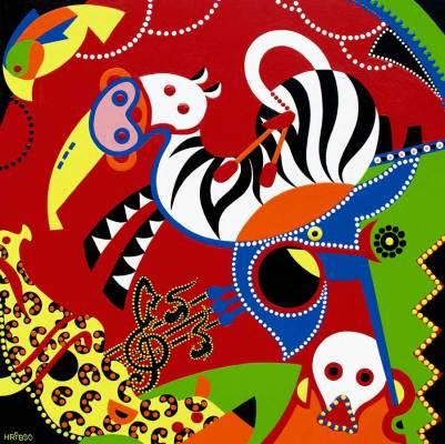 Schilderij - Muzikale Circus Schilderij - Toyisme. Hedendaagse kunst online kopen.