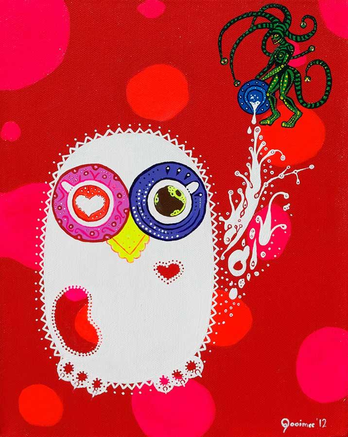 Painting - Breakfast Coffee Night Owls - Toyism. Buy art online.