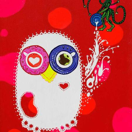 Painting - Breakfast Coffee Night Owls - Toyism. Buy art online.