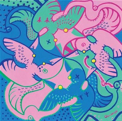 Schilderij - Katten Houden Vogels - Toyisme. Hedendaagse kunst online kopen.