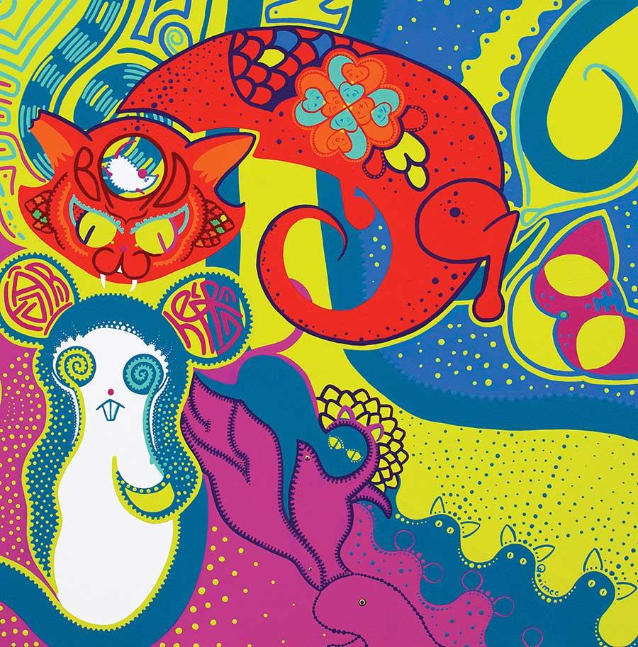 Schilderij - Nachtmerrie Muis - Toyisme. Hedendaagse kunst online kopen.