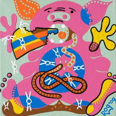 Schilderij - Eetverslaving - Toyisme. Hedendaagse kunst online kopen.