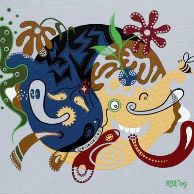 Schilderij - Onze Wereld Tript - Toyisme. Hedendaagse kunst online kopen.