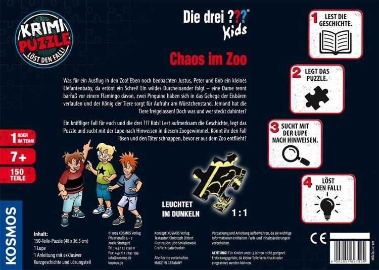 kosmos 69799 krimi puzzle die drei kids chaos im zoo 150 teile puzzle