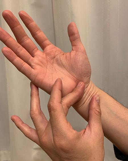 手首の皺を縦方向と横方向にたわませる