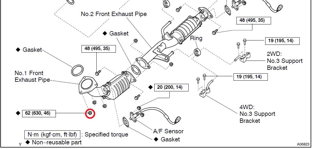 exhaust stud nuts toyota 4runner