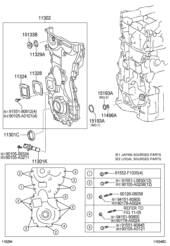 Toyota Sienna Sensor Crank Position Sensor Position L