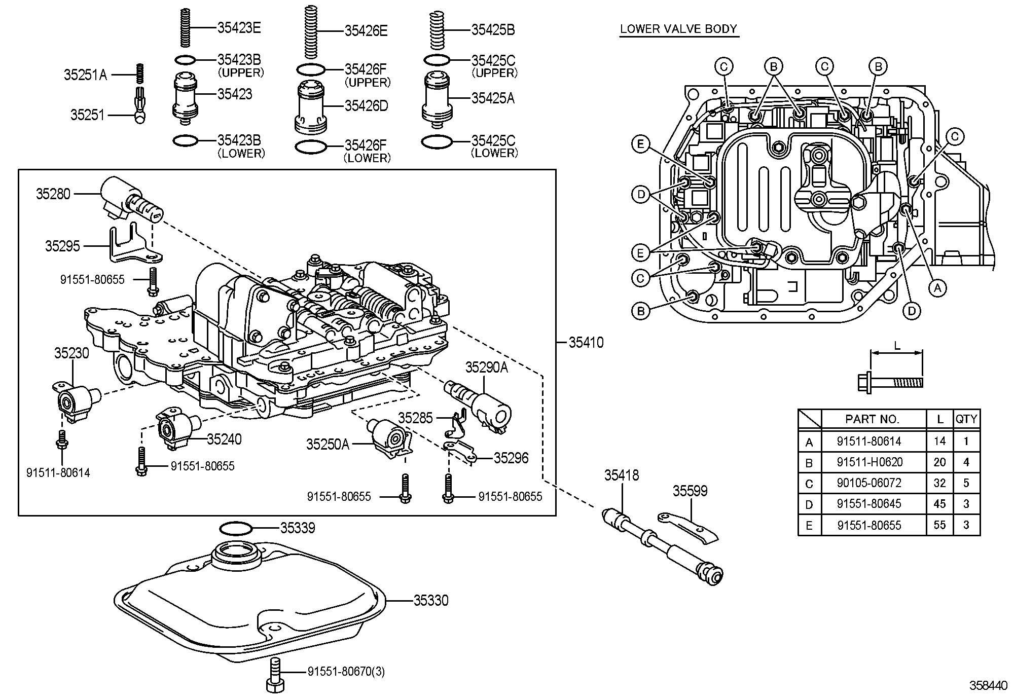 Toyota Corolla Body Assembly Transmission Valve Body