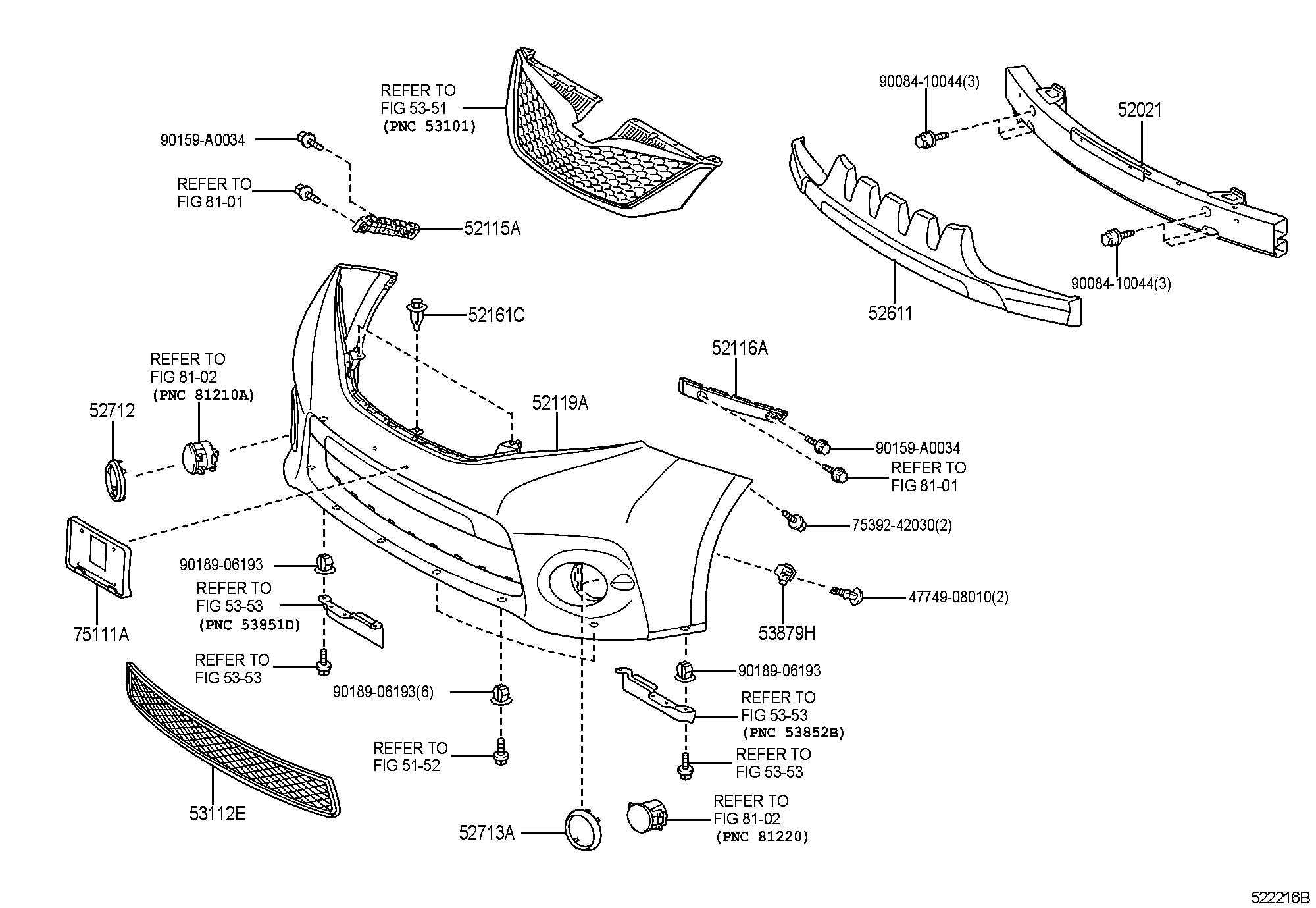 Toyota Sienna Reinforcement Sub Assembly Front Bumper