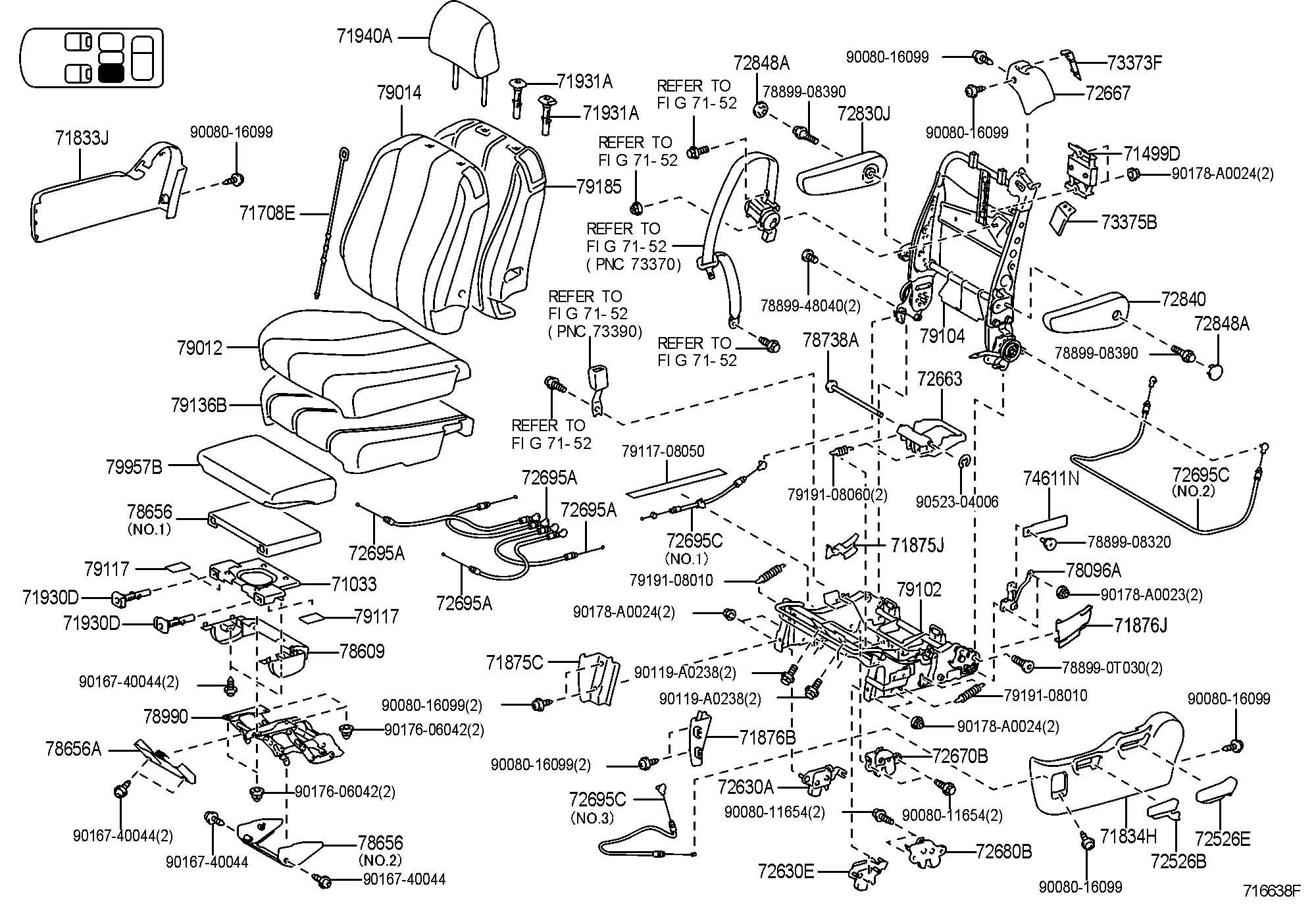 Toyota Sienna Wagon Le Cap Seat Armrest No 1 Ltay