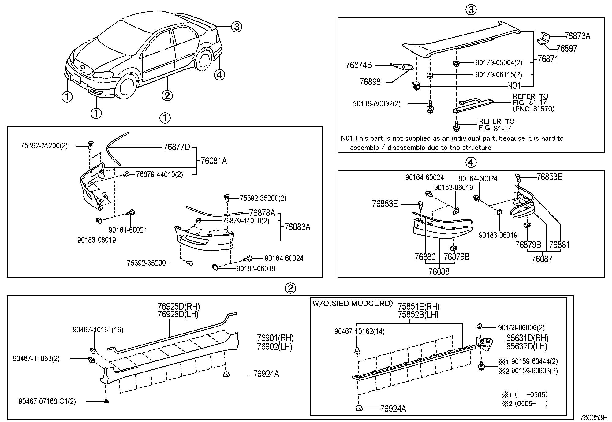 Toyota Matrix Retainer Front Spoiler No 1 Retainer