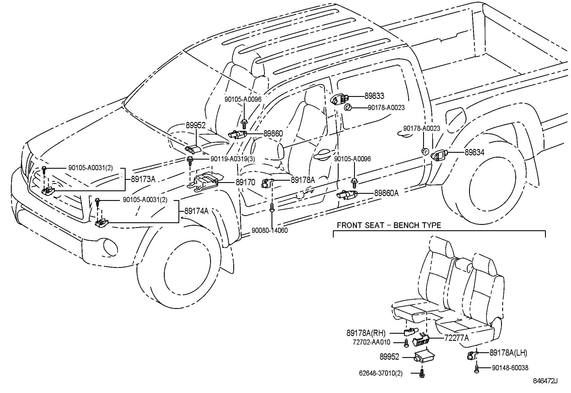 Toyota Tacoma Sensor Seat Position Air Bag Sensor