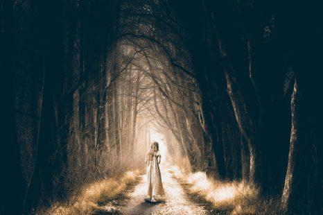 vía bosque chica noche