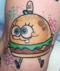 Alex Strangler geek peau bob eponge spongebob squarepants tattoo tag