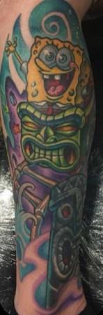 POOCH ART geek peau bob eponge spongebob squarepants tattoo tag