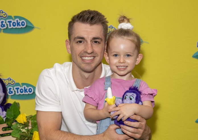 Olympic Gold medallist Max Whitlock with his daughter Willow