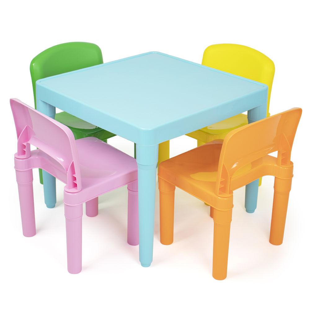 humble crew modern brights ensemble table et 4 chaises de conception legere pour enfants plastique