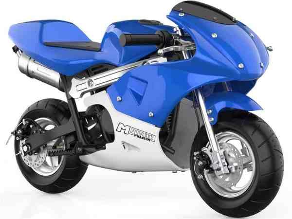 MotoTec Phantom Gas Pocket Bike 49cc 2-Stroke Blue