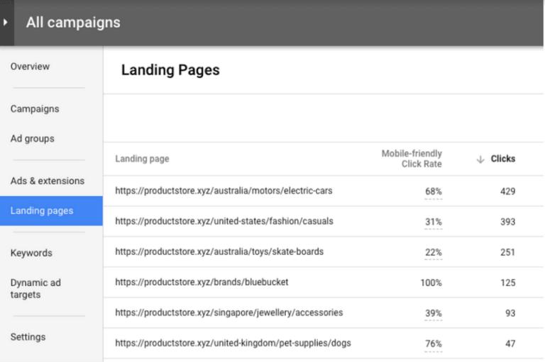 Google Landing Pages