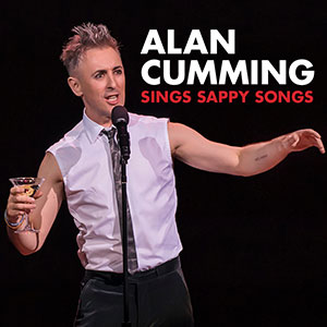 Alan Cumming sings with martini in hand