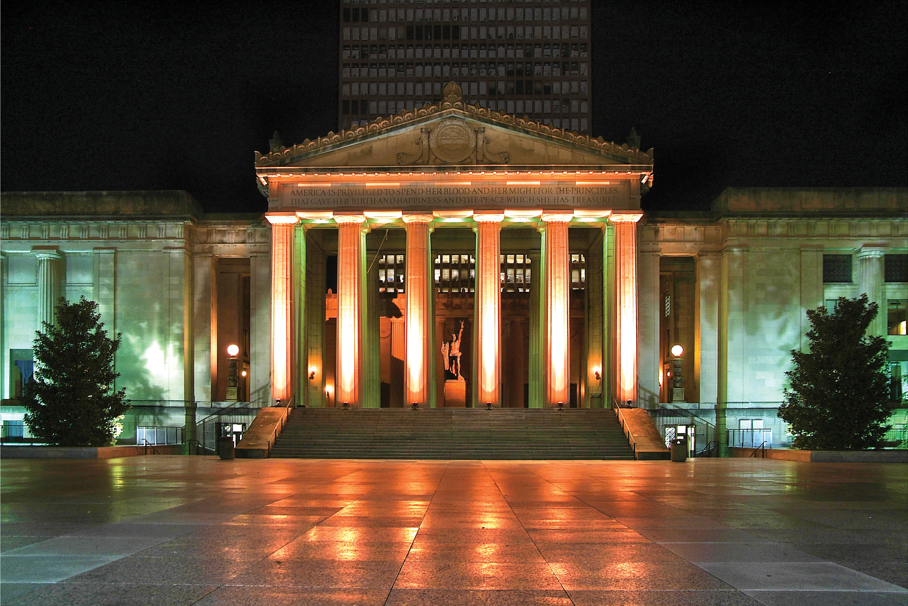 Front view of War Memorial Auditorium at night