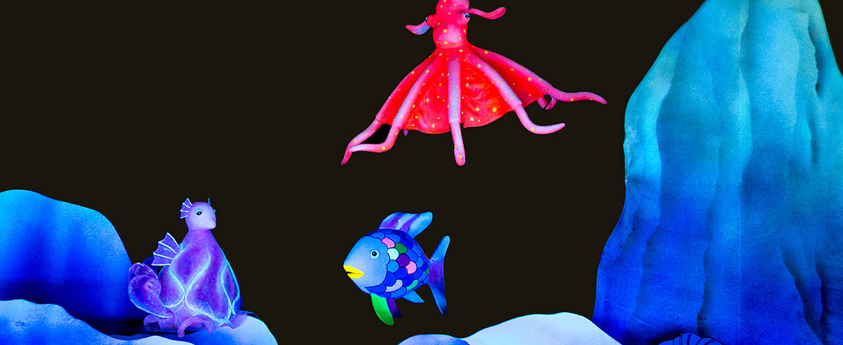 Black light puppets of fish and sea creatures